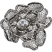 K.J.L. Clear Rhinestone Flower Brooch Pin Kenneth Jay Lane
