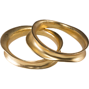 K.J.L. Kenneth Jay Lane Modernist Gold Plated Bangle Bracelets Pair KJL