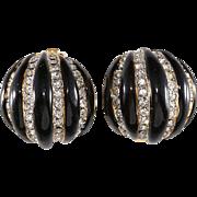 Kenneth Jay Lane K.J.L. Black Enameled Rhinestone Melon Earrings