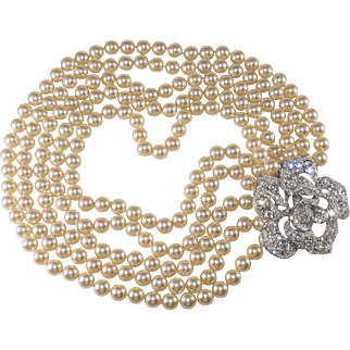 Kenneth Jay Lane Rhinestone Rose Clasp Faux Pearl Necklace
