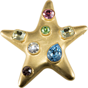 Kenneth Jay Lane Jackie O Rhinestone Star Brooch
