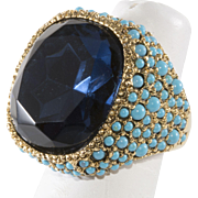 Kenneth Jay Lane Ring Sapphire Blue Rhinestone Turquoise Blue Beads K.J.L.