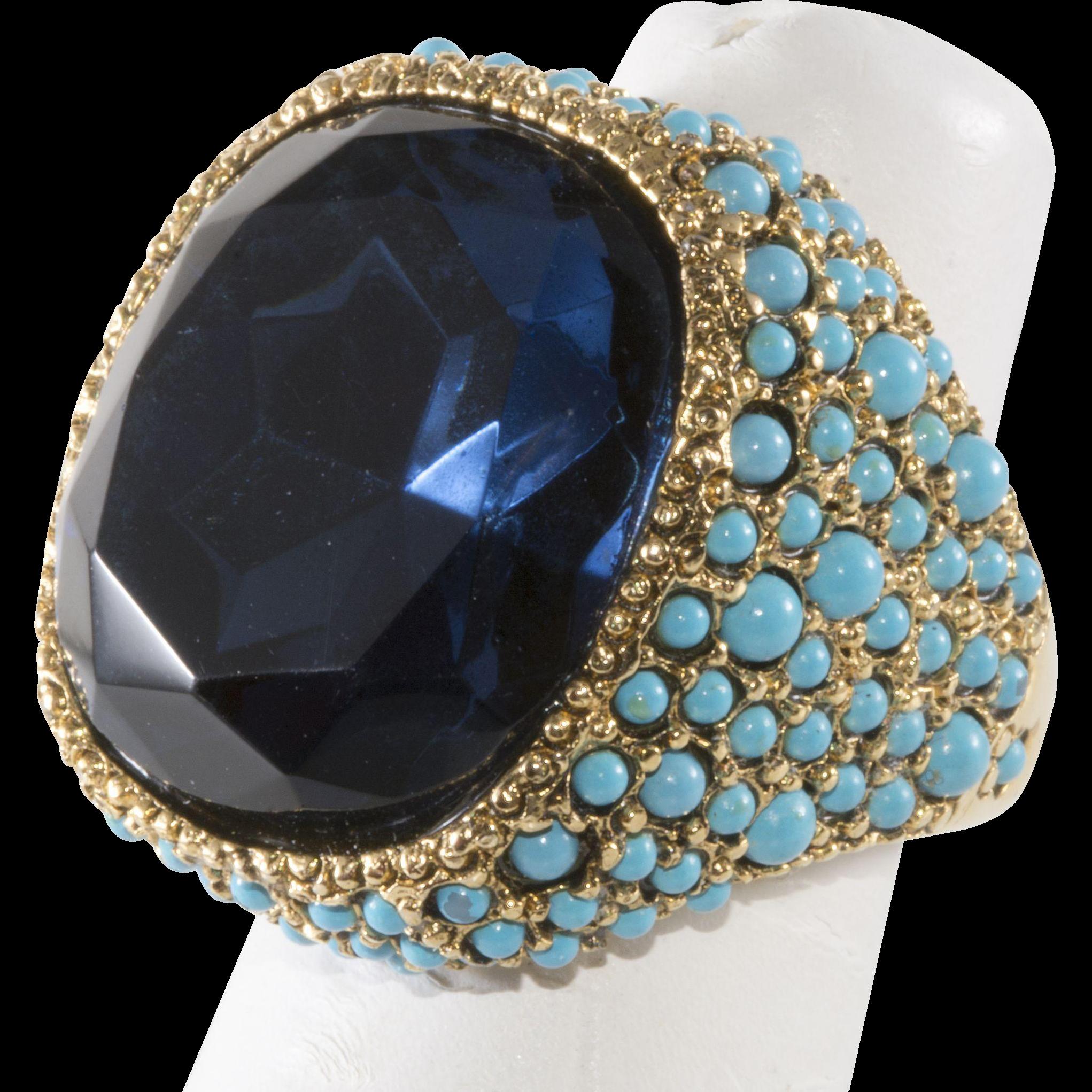 Kenneth Jay Lane Ring Sapphire Blue Rhinestone Turquoise Blue Beads K.J.L.