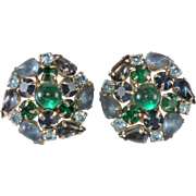 Karu Arke' Blue Green Rhinestone Cluster Earrings Vintage