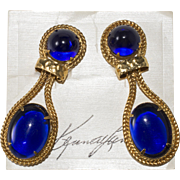 K.J.L. Autographed Kenneth Lane Royal Blue Cabochon Earrings