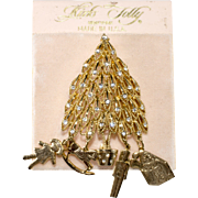 Kirk's Folly Rhinestone Christmas Tree Pin Brooch Dangling Toys