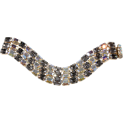 Kramer Iridescent and Gray Emerald Cut Rhinestone Bracelet