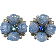 Kramer Blue Crackle Rhinestone Faux Pearl Earrings Vintage