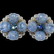 Kramer Blue Crackle Rhinestone Faux Pearl Earrings Vintage