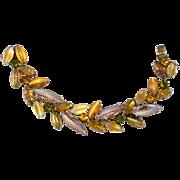 Kramer Leaf Stone Amber and Green Rhinestone Bracelet