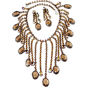 Kramer Brown Rhinestone Fringe Dangle Necklace Earrings Set