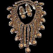 Kramer Brown Rhinestone Fringe Dangle Necklace Earrings Set