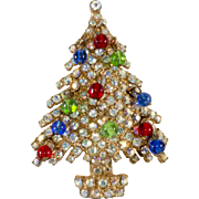 Kramer Jewel Tone Christmas Tree Pin Brooch 1960s Vintage