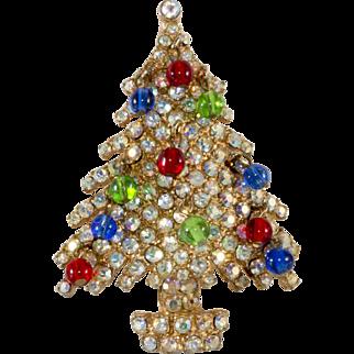 Kramer Jewel Tone Christmas Tree Pin Brooch 1960s Vintage