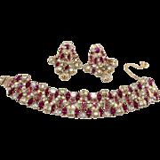 Kramer Fuchsia Pink and Clear Rhinestone Bracelet Earrings Set