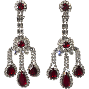Ruby Red and Clear Rhinestones Statement Chandelier Girandole Earrings