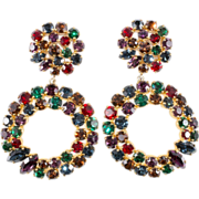 Louis Feraud LARGE Jewel Tone Rhinestone Earrings