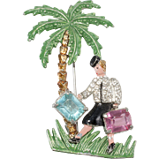 1930s Enameled Lady with Suitcases Under Palm Tree Brooch Pin