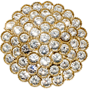Lisner Clear Layered Rhinestone Brooch Pin