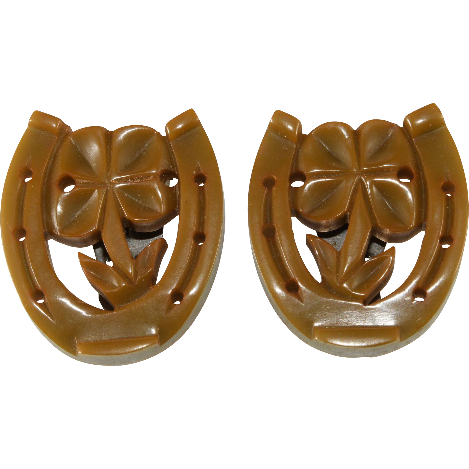 Lucky Horseshoe Four Leaf Clover Bakelite Dress Clips Brooches