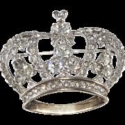 Mazer Sterling Silver Clear Rhinestones Crown Pin Brooch 1940s Vintage