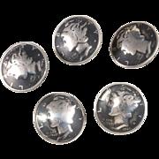 Mercury Dimes Coins Silver Button Set of Five Vintage