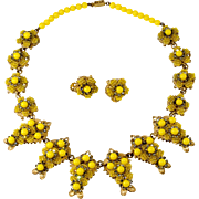 Mark Mercy Stanley Hagler Yellow Bead Rhinestone Necklace Earrings Set