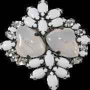 Art Glass Brooch Pin Milk Glass and Clear Rhinestones