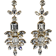 1960s Mimi di N Statement Earrings Clear Rhinestones