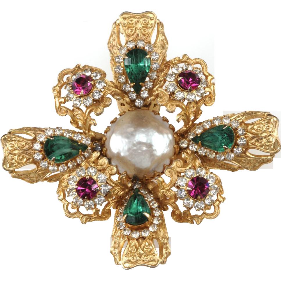 Mimi Di N 1960s Rhinestone Maltese Cross Brooch Pin
