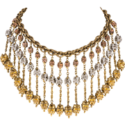 Monet Jewelers 1930s Tri-Color Dangles Bib Necklace