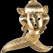 Monet Geisha Asian Lady Brooch Pin 1960s Vintage