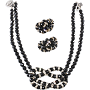 Monette of Paris Faux Pearl Rhinestone Knot Necklace c. 1990