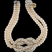 Monette of Paris Faux Pearl Rhinestone Knot Necklace c. 1990