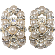 Monette of Paris Faux Pearl Rhinestone Figure Eight Earrings French