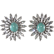 Francoise Montague Paris Rhinestone Flower Earrings
