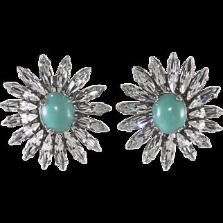 Francoise Montague Paris Rhinestone Flower Earrings