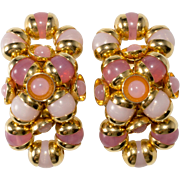 Monette of Paris Pink Bead Figure Eight Earrings