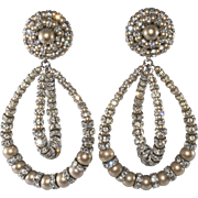 Francoise Montague Lolita Dangle Earrings Faux Pearl Rhinestone