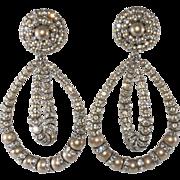 Francoise Montague Lolita Dangle Earrings Faux Pearl Rhinestone