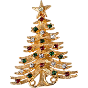 Mylu 1960s Large Rhinestone Christmas Tree Pin