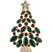 Traditional Red and Green Rhinestone Christmas Tree Pin Brooch Marked N
