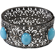Napier 1930s Filigree Cuff Bracelet Turquoise Blue Cabochon  Vintage