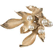 Napier Oak Leaf Brooch with Dangling Faux Pearl Acorns Pin
