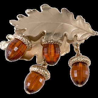 Napier Oak Leaf Brooch Pin w/ Dangling Resin Acorns Vintage 1950s