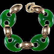 Napier Jade Green Anchor Link Bracelet Vintage