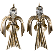 Napier Peace Dove Bird Earrings Clear Rhinestones Vintage