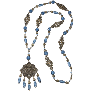 Napier 1920s Art Deco Blue Glass Bead Filigree Sautoir Necklace