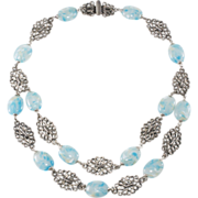 Napier 1950s Silver Filigree Necklace w/ Blue Glass Beads