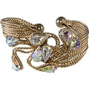 Napier 1960s Twisted Wire Bracelet with Iridescent Rhinestones